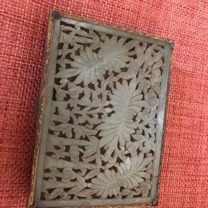 Antique Chinese brass jade box